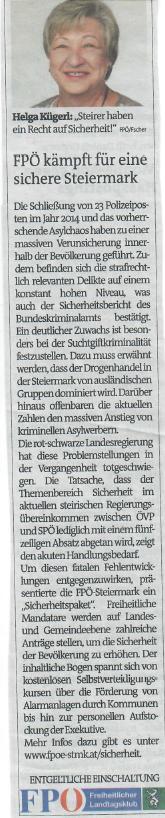 FPÖ kämpft für sichere Steiermark